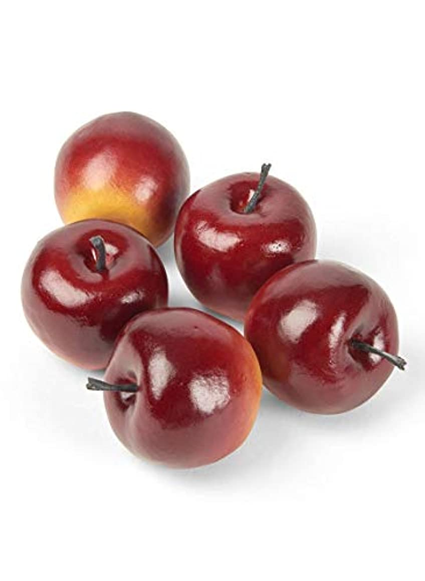 Serene Spaces Living Decorative Lady Alice Apples, Faux Fruits for Display, Set of 5