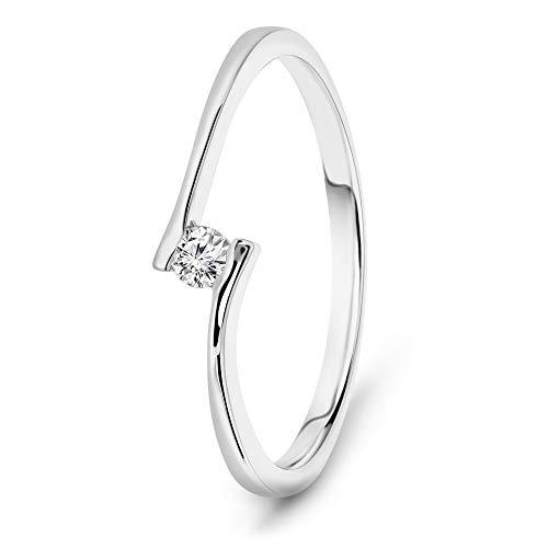Miore anillo de compromiso mujer con diamante brillante de 0.05 quilates en oro blanco de 14 quilates (585)