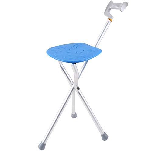 HENGMEI Bastone da passeggio pieghevole in alluminio con seduta integrata Portatile sedia da Sgabello