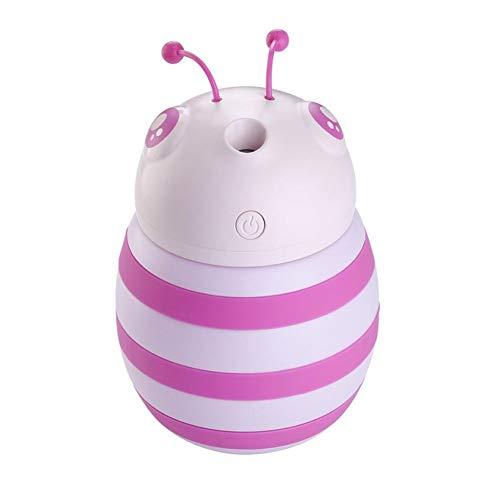 JIANGYE USB etherische olie diffustbare mini-schattige kleine bijen ultrasone cool mist luchtbevochtiger 300ml auto-luchtreiniger 7 kleuren LED nachtverlichting quiet operatie auto shut off, roze