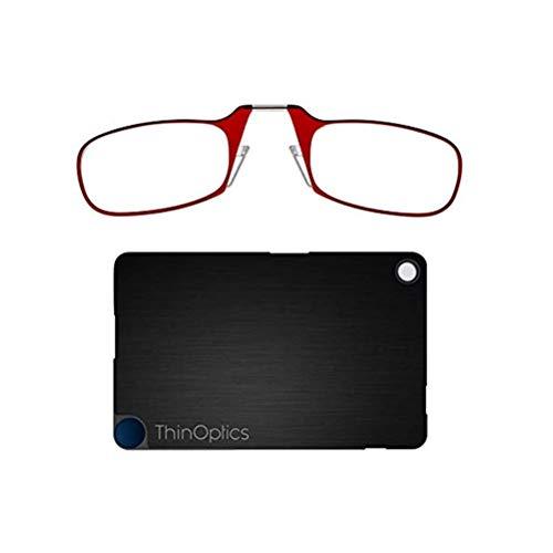 ThinOptics leesbril 2,5 rode frames en creditcardhoesje - Compact opvouwbare leesbril 2.50 leesbrillen