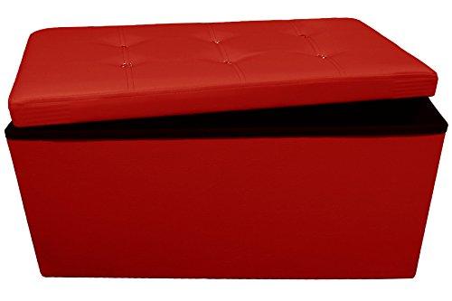 Russo Tessuti Pouf Puff Panca 6 Swarovski Contenitore Sgabello Scatola Pieghevole Ecopelle PancaSwarovski-Rosso