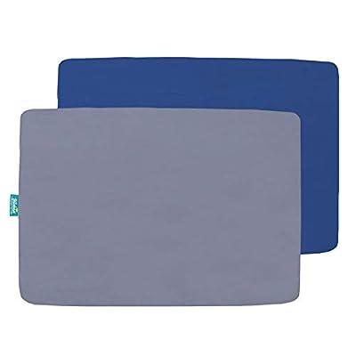 Biloban Pack n Play Sheet Fitted, 2 Pack Portable Playard | Mini Crib Sheets, Ultra Soft Microfiber Pack N Play Sheets, Navy & Gray, Preshrunk