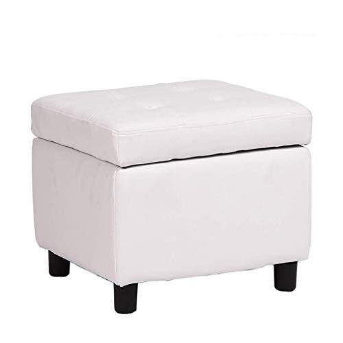 FWZJ Taburete de Almacenamiento, Banco de uñas para vestirse, Banco de Zapatos/Banco de sofá para niños/Otomano/Cuero Artificial de PU (Color: Blanco)