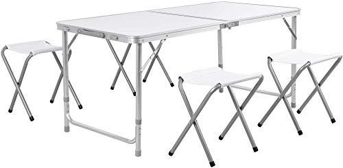 ZXJ Mesa Plegable de 4 pies, Mesa de Picnic para Acampar con 4 sillas Plegables, Mesa de jardín portátil al Aire Libre para Barbacoa, Picnic, Fiesta, Banquete-Blanco