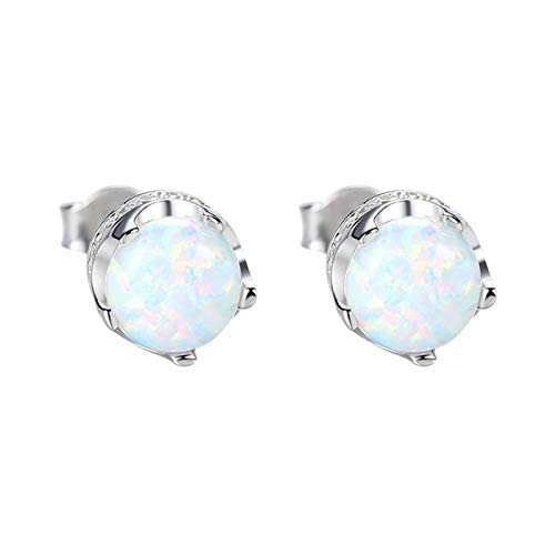 Adokiss Women's 925 Silver Earrings Wedding Round Shape Created Opal Cubic Zirconia Birthday Gift for Sister White