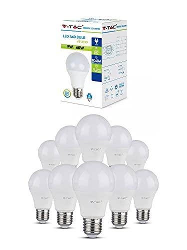 10 x Lampadine LED V-Tac E27 9W Bulb A60-806 lumen - 6400K (Bianco Freddo)