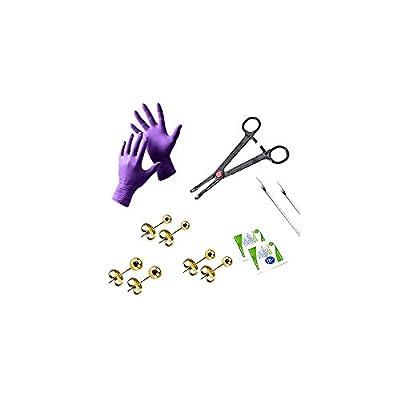 BodyJewelryOnline Ear Piercing Kit 20G Ear Stud Surgical Steel - 13 Pieces + Bonus Marker LionGothic