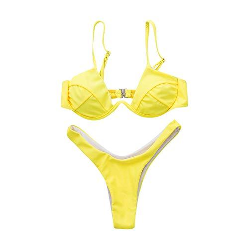 Zomer Dames Printing Shaping Swimsuit, damesbikini met dikke beha, effen driehoekig badpak, Women's Scallop Swimsuit Badpak