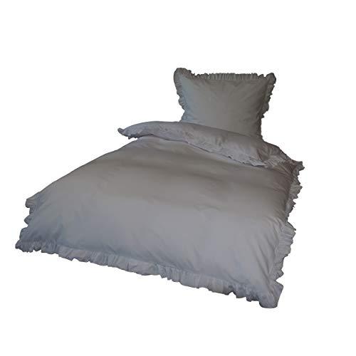 Krollmann 2-TLG. Bettwäsche Set Rüschen mit Reißverschluss aus 100% Baumwolle in Grau, Deckenbezug 135x200cm, Kissenbezug 80x80cm, Vintage-Stil Retro Style