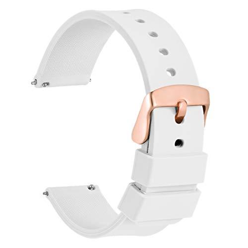 WOCCI 20mm Correa de Reloj de Silicona con Hebilla de Oro Rosa, Liberación Rápida (Blanco)
