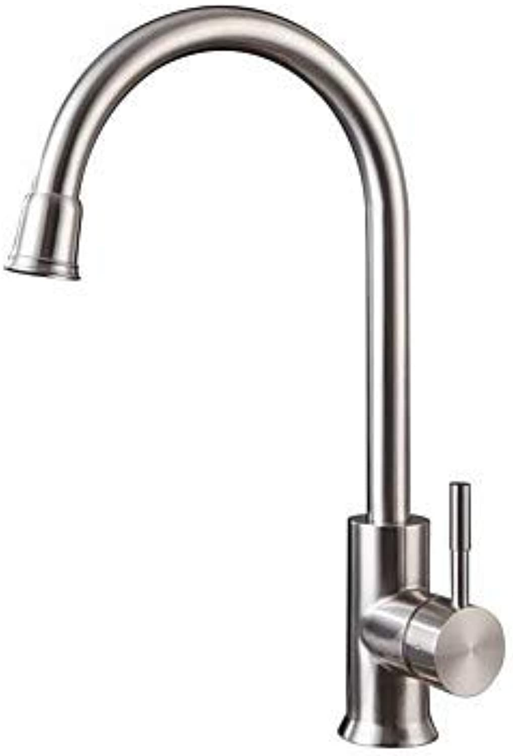 FUSHENG Kitchen Faucet - Fixed Stainless Steel Standard Spout Free Standing