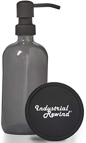Seifenspender aus Glas, mit schwarzer Metallpumpe, mit Untersetzer für rutschfesten Boden, Arbeitsplattenschutz, 473 ml, Grau
