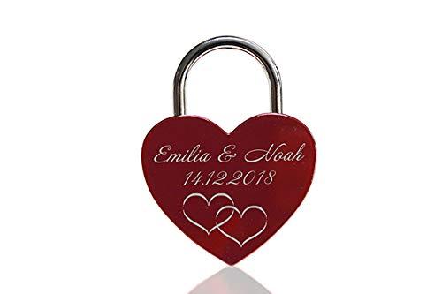 ELUNO Liebesschloss Herzschloss Schloss mit Gravur und Schlüssel I Valentinstags Geschenk für Sie Ihn Hochzeit I incl. Samtbeutel I Motiv Herz 0003 in Rot