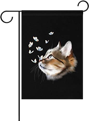 YATELI Drapeau de Jardin 12x18 Pouces Noir drôle Chat Chaton Papillon Polyester fête à la Maison en Plein air