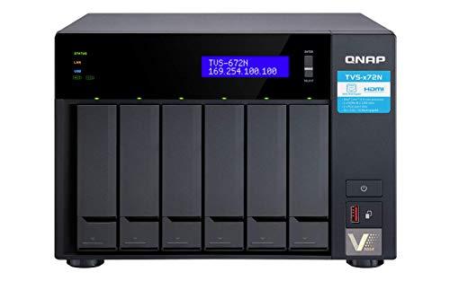 Qnap TVS-672N-I3-4G Desktop-NAS-Gehäuse mit 6 Schächten - 4 GB RAM und Intel Core i3-Prozessor mit SSD-Caching für ultimative Speicherleistung