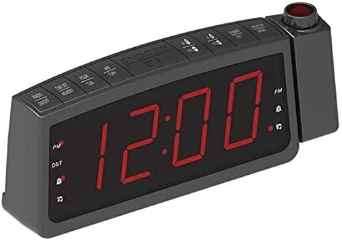 Relógio de cabeceira doméstico, despertador com projeção, despertador LED com projeção digital, rádio com luz de fundo/Snooze de teto e relógio de projeção digital, rádio-relógio de cabeceira