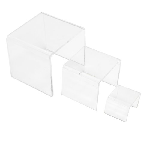 Mirart Clear Acrylic Risers Set of 3 (3 Inch, 4 Inch, 5 Inch)