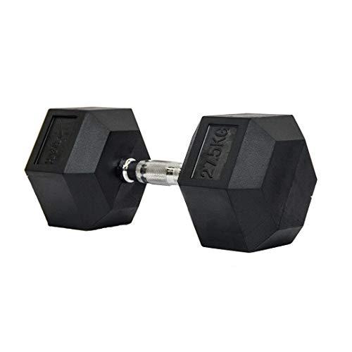 Dumbbell - Halter Sextavado Emborrachado com Pegada Cromada de 27,5 kg - Rae Fitness