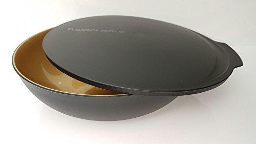 Tupperware Allegra Servierschale Schüssel mit Deckel XXL schwarz gold Weihnachten 5,0 Liter XL Salat Buffet edel glänzend
