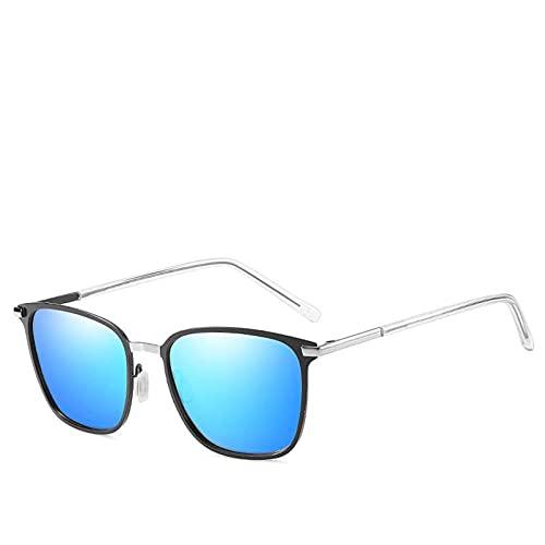 AMFG Gafas de sol polarizadas de los hombres Marco cuadrado Conductor de metal Visión nocturna Gafas de sol Gafas de sol Viajes al aire libre (Color : B)