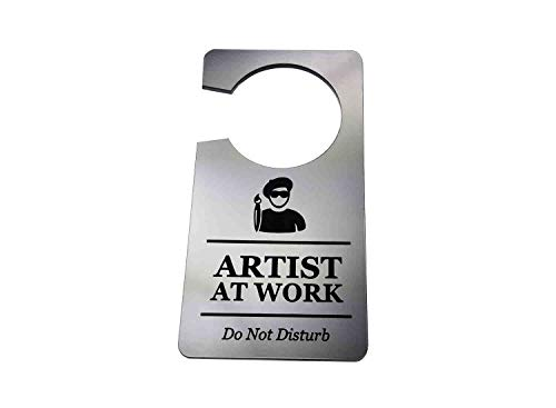 Origin Designed Artist at Work, Do Not Disturb - Generic Silver, Room, Door Hanger Sign Silver Acrylic - for Parents, Family, Children, Novelty Gift, Corporate, Hospitality