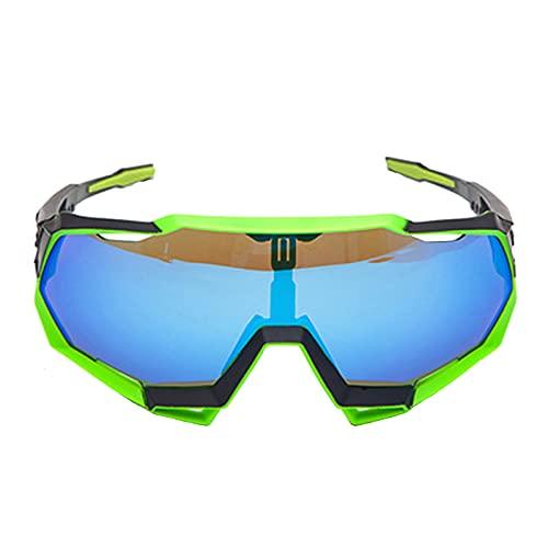Zhixing Gafas Deportivas al Aire Libre Gafas para Montar en Bicicleta Gafas de Sol con protección Ocular para Motocicleta de Marco Completo,Green Frame Blue,A