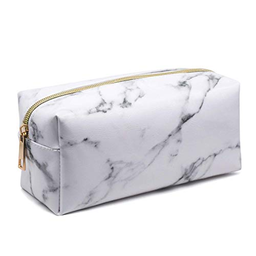Marble Makeup Bag Organizer Portable Cosmetic Pouch Travel Brush Holder PU Handbag with Gold Zipper Pencil Storage Case for Women Purse,White (7.5'x3.5'x2.8')