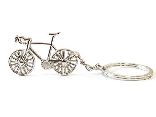 キーホルダー おしゃれ メンズ キーリング 自転車 モチーフ レディース ロードバイク かわいい バッグチャム シルバー