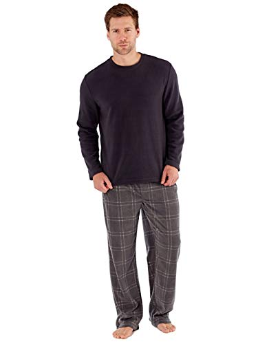 SaneShoppe Herren Thermal Top, Polar Fleece Hose Warm Grey Pyjama Sets-L