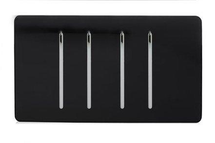 Trendi Artistic Modern Glossy 4 Gang 2 Way Rocker Double Plate Tactile Light Switch in Black