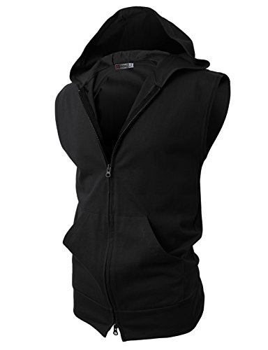 H2H Mens Sleeveless Fashion Hoodies Zip-up with Pocket Black Asia L (JPSK13_N25)