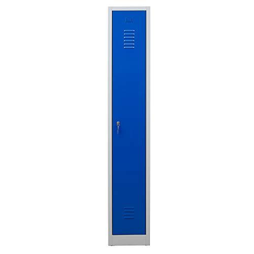 Certeo Garderobenspind | HxBxT 180 x 30 x 50 cm | Zylinderschloss | Grau-Blau | Garderobenspind Umkleidespind Spind Schrank Abschließbar