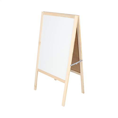 Pizarra blanca sobre caballete de madera para menús en bares, restaurantes, hostelería o uso domestico infantil. Apta para rotuladores de colores. (100X55cm)