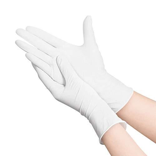 Hizek 100 Stück Weiß Handschuhe, puderfrei, latexfrei, antiallergisch, verschleißfest, M(Offizieller Shop: Hufancy)