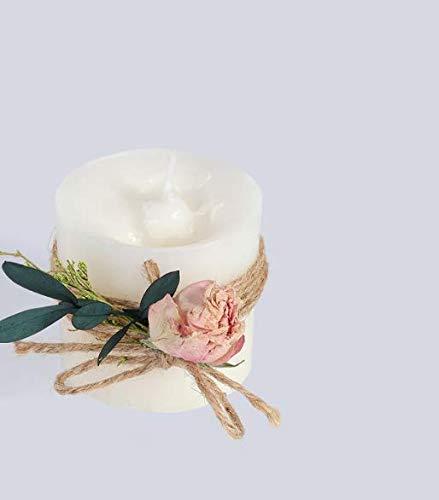 LXP Vela Rosa Perfumada Vela Decorativa Cilíndrica Blanca Inofensiva Sin Humo Amor Nieve Rosa Rosa B