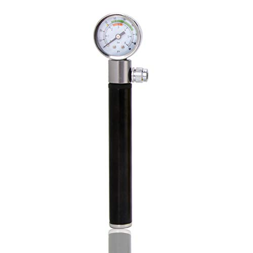 Bike Pump, Mini Portable Aluminum Alloy Bike Tire Pump Kit with Gauge, Compact and Light - Best Quality & Performance All Kinds for Bike,Black