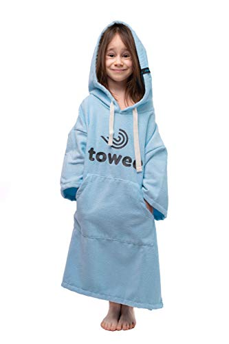 Towee Kinder Poncho Badetuch, Kinder Surf poncho, Surferhandtuch für Kinder, Kapuzenhandtücher (60 x 80 cm, Blau)