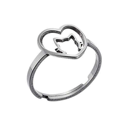 Anillo de corazón de melocotón hueco de acero inoxidable para mujeres, lindo gato gato abierto anillos ajustables para niñas regalos para ella, Acero inoxidable,