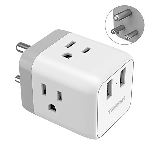 India Power Adapter, TESSAN 5 in 1 Nepal Travel Adapter Plug with 3 US Power Outlets and 2 USB Charging Ports, US to India Bangladesh Maldives Nepal Pakistan Plug Adapter - Safe Grounded Type D Plug