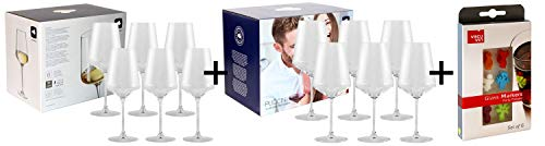 AKTIONS-Paket 2er Pack inkl. Marken-Glasmarker! 6X Leonardo Weinglas PUCCINI Weißwein + 6X Leonardo Weinglas PUCCINI Rotwein