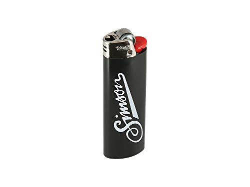 SIMSON weich BIC-Feuerzeug, schwarz - mit SIMSON-Logo + Schriftzug: Allzeit gute Fahrt