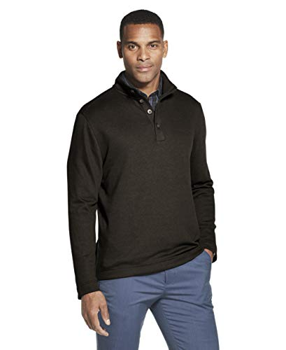 Van Heusen Men's Long Sleeve Never Tuck Jaspe Button Mock Pullover, Brown Morel Solid, XX-Large