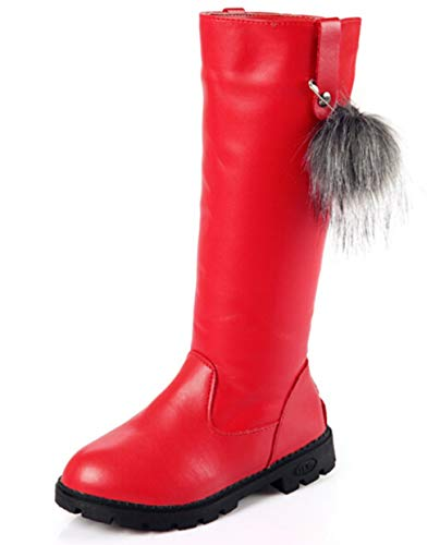 DADAWEN Girl's Waterproof Pom Pom Back Zipper Fur Tall Riding Boots (Toddler/Little Kid/Big Kid) Red US Size 1 M Little Kid