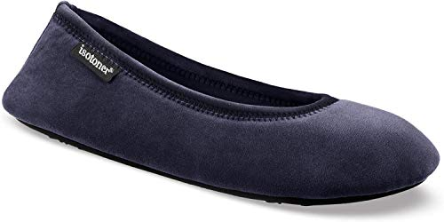 isotoner Women's Stretch Velour Victoria Ballerina House Slipper with All Around Memory Foam Comfort, Navy Blue, Small/5-6 M US