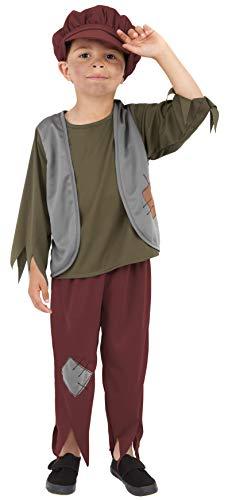 Smiffy'S 38660S Disfraz De Niño Victoriano Pobre Con Parte De Arriba, Pantalón Y Gorro, Verde, S - Edad 4-6 Años