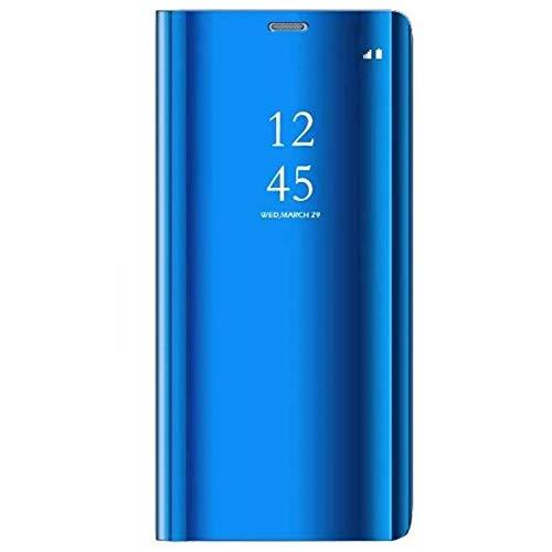 Alsoar Compatible/Replacement pour Coque Samsung Galaxy A7 2018, Etui 360 °de Protection Intelligente Vue Housse Claire Miroir Placage Kickstand Caractéristique Flip Samsung A7 2018 (Bleu Royal)