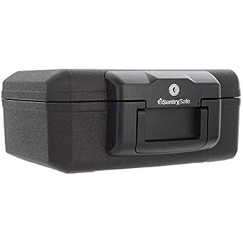 Stash Safe SentrySafe 1200 Fireproof Box with Key Lock, 0.18 Cubic Feet , Black