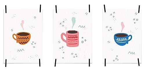 myprinti® Küchenbilder Poster Bilder für die Küche Küchenposter Kunstdrucke   Moderne Wanddeko Küche Deko   3er Set Größe DIN A3   Kaffeetasse braun, Kaffeetasse rosa, Kaffeetasse blau