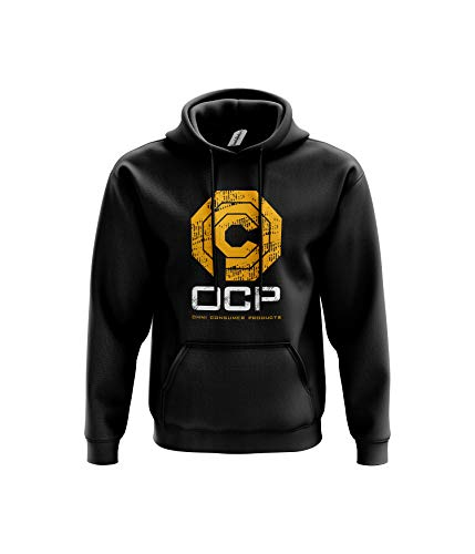 OCP Robot Hoodie Sci-Fi Classic Movie Police Officer Crime Cyborg Present Ideas Twin Needle Stitch Detailing 80% Ringspun Cotton 20% Polyester Kangaroo Pouch Pocket (Black, Large)